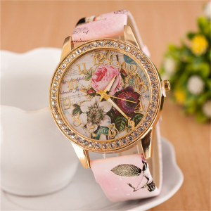 Crystal Patched Printed Dial Buckle Closure Wrist Watch - Pink