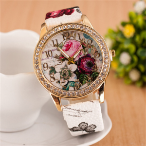 Crystal Patched Printed Dial Buckle Closure Wrist Watch - White