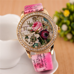 Crystal Patched Printed Dial Buckle Closure Wrist Watch - Hot Pink