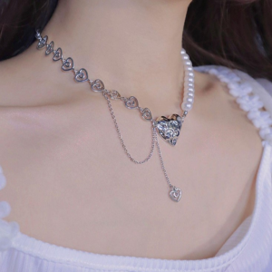 Decorative Pearl Crystal Heart Women Fashion Necklace