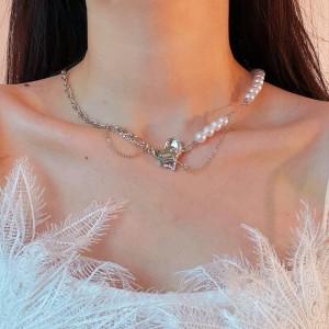 Pearl Decorative Women Fashion Necklace - Silver