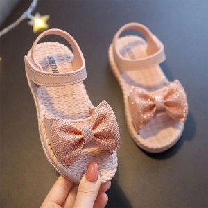 Velcro Closure Bow Patch Girls Wear Cute Sandals - Pink