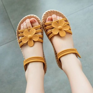 Floral Velcro Style Summer Wear Sandals For Kids - Yellow