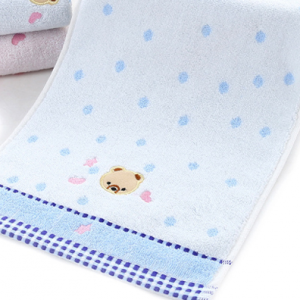 Printed Bear Childrens Soft Absorbent Cute Small Towel - Blue