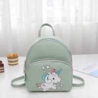 Zipper Closure Unicorn Cartoon Print Mini Backpack - Green