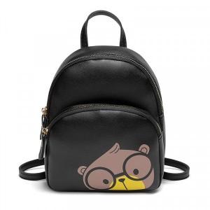 Bear Print Synthetic Leather Zipper Closure Mini Backpack - Black