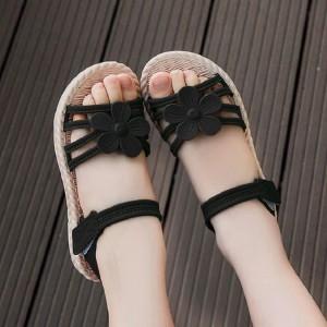 Floral Velcro Style Summer Wear Sandals For Kids - Black