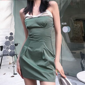 Spaghetti Strap Sleeveless V Neck Back Zipper Party Wear Dress - Green