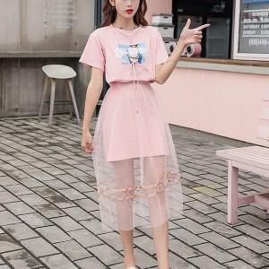 Short Sleeve Round Neck Fairy 2Pcs Fashion Suit Skirt - Pink