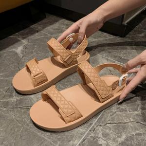 Patchwork Buckle Closure Flat Sole Sandals - Khaki