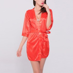 Summer Sexy Ice Silk Robes Women Lace V neck Half Sleeve Lingerie Set - Red