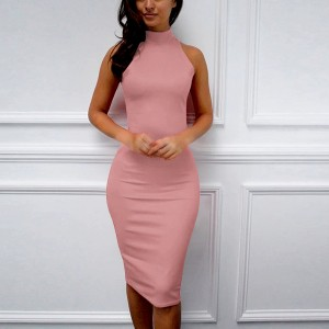 Halter Neck Body Fitted Sexy Wear Midi Dress - Pink