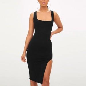 Round Neck Solid Color Sleeveless Mini Dress - Black