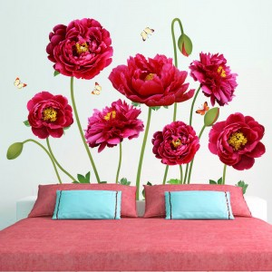 Flower Self Adhesive Bedroom Living Room 3D Wall Sticker - Multicolor