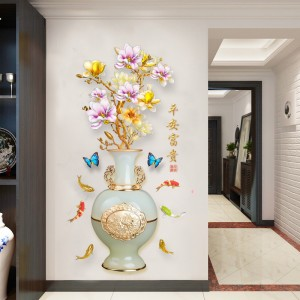 Vase Stereo Self Adhesive Bedroom Living Room 3D Wall Sticker - Multicolor
