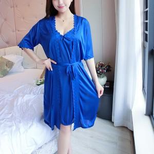 Spaghetti Strap Ice Silk Short Sleeve Women 3Pcs Lingerie Suit - Blue