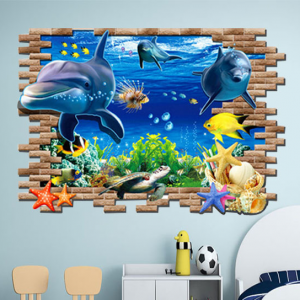 3D Ocean Dolphins Self Adhesive Kids Room Decoration Sticker - Multicolor