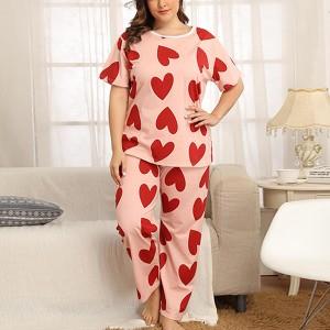 Heart Prints Round Neck Two Pieces Pajama Sleepwear Suit - Pink