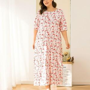 Plus Size Print A-Line Midi Dress - White