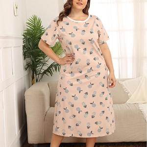 Plus Size Print A-Line Midi Dress - Apricot