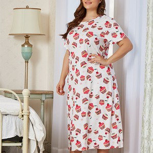 Plus Size Print A-Line Midi Dress - White Multicolor