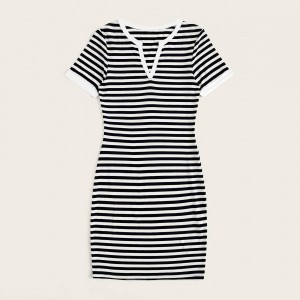 Stripes Printed Notched Neck Short Sleeve Mini Dress - White