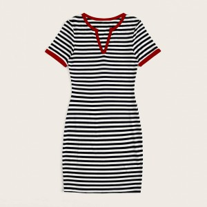 Stripes Printed Notched Neck Short Sleeve Mini Dress - Red