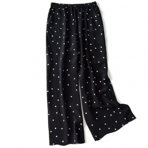 Polka Dots Elastic Waist Bell Bottom Casual Trousers - Multi Color