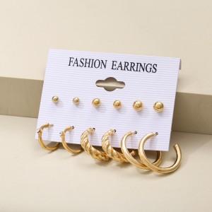 Braided Design Stud Hoops Earrings Sets For Women - Golden