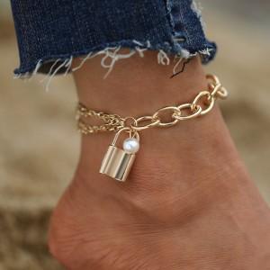 Lock Hanging Gold Plated Anklet - Golden