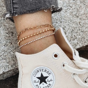 Crystal Patch Multi Layer Gold Plated Anklet - Golden