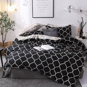 Queen/Double Size Bedding Set of 6 Pieces Black Geometric Design