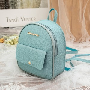 Synthetic Leather Multi Pocket Zipper Closure Women's Backpack - Sky Blue