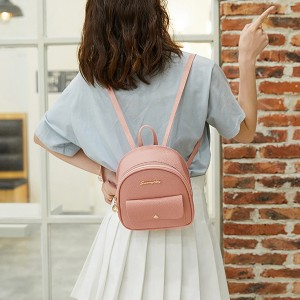 Synthetic Leather Multi Pocket Zipper Closure Women's Backpack - Pink