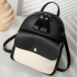 PU Leather Multi Pocket Zipper Closure Backpack - Black