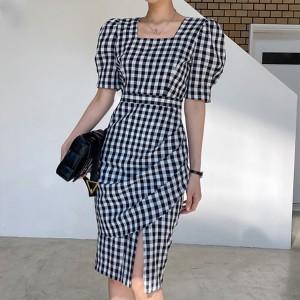 Square Neck Geometric Printed Short Sleeves Midi Dress - Blue