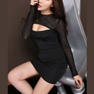 Body Fitted See Through Cut Out Bust Mini Dress - Black