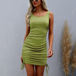 Round Neck Solid Color Sleeveless Mini Dress - Green