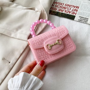 Crocodile Pattern Pearls Decorative Magnetic Lock Women Messenger bag - Pink