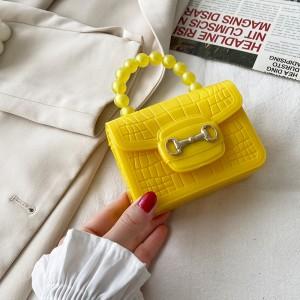 Crocodile Pattern Pearls Decorative Magnetic Lock Women Messenger bag - Yellow