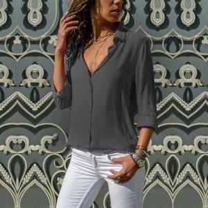 Button Closure Solid Color Casual Summer Shirt - Dark Gray