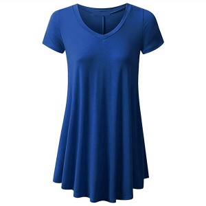 Round Neck Fitted Short Sleeves Ruffled Blouse Top - Royal Blue