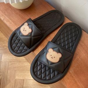 Trendy Bear Flip Flop Soft Comfy Wear Slippers - Black