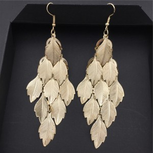 Leaves Gold Plated Women Fashion Long Earrings - Golden