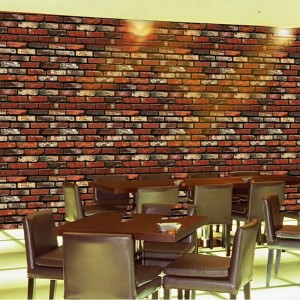 Brick Pattern Adhesive For Bedroom Decor Wall Stickers - Dark Brown