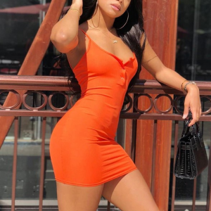 Spaghetti Strap Body Fitted Mini Dress - Orange