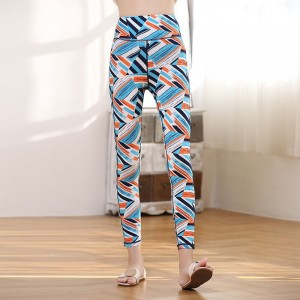 Geometric Printed Narrow Bottom Boho Style Trouser Pants - Blue
