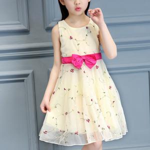 Round Neck Cute Princess Waist Bow Mini Dress - Apricot