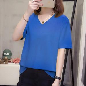V Neck Solid Color Short Sleeves Summer Top - Blue