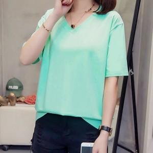 V Neck Solid Color Short Sleeves Summer Top - Sea Green